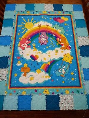 NEW! Crib size handmade baby rag QUILT -- blue Care Bears blanket -- boy or girl