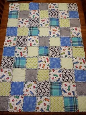 NEW! Crib size handmade FLANNEL rag QUILT -- Great blanket for baby boy!