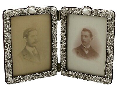 Antique Victorian Sterling Silver Double Photograph Frame 1900