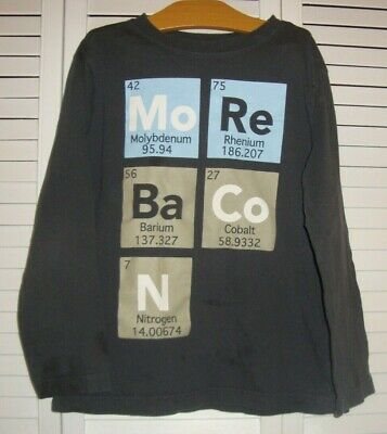 Crazy 8 Boys Chemistry Periodic Table More Bacon Long Sleeve Tee T Shirt M 7 8