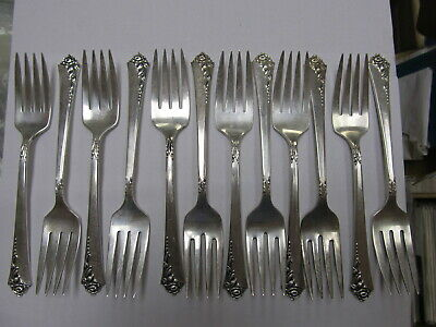 "Heirloom Damask Rose Sterling Silver Vintage Salad Fork 6 5/8"" Xlnt Cond"