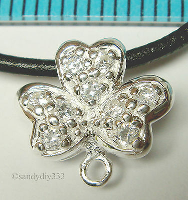 1x STERLING SILVER CZ CRYSTAL FLOWER NECKLACE SLIDE PENDANT BAIL CONNECTOR N681