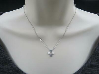 "Vintage Esprit Signed Sterling Silver Cross Pendant Snake Chain 17.25"" Necklace"