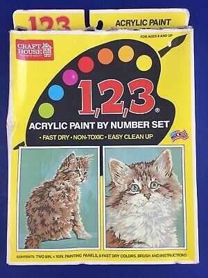 Vintage Cats Acrylic Paint By Number Kit Two 8 x 10 Pictures Craft House USA