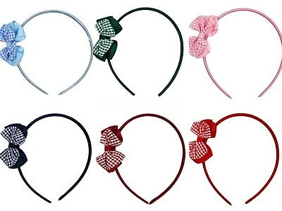 Kids Children Gingham Bow Red Blue Green Navy Burgundy Hair Band Alice School UK