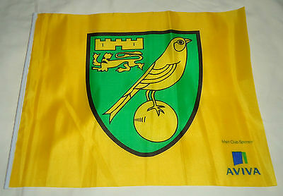 """Small Official """"Aviva"""" Norwich City FC Football Club Team Badge Supporters Flag"""