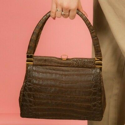 Vintage brown faux croc leather handbag gold clasp closure 50s 60s kelly