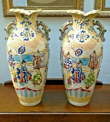 Stunning pair of Japanese Hand Painted Satsuma Vases Late 19th/Early 20th C