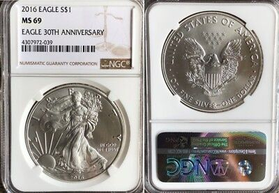 2016 American Silver Eagle NGC MS69 30th Anniversary Label
