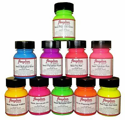 Angelus Neon Acrylic Leather Paint for Shoes, Sneakers, Bags, 12 Colours 1oz