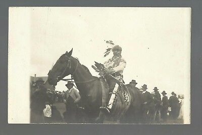 Waubay SOUTH DAKOTA RP c1910 SIOUX INDIAN CHIEF on HORSE Indians nr Webster #2