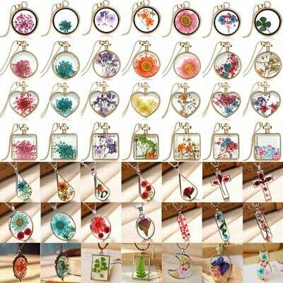 Natural Dried Flower Real Rose Sunflower Heart Glass Locket Pendant Necklace NEW