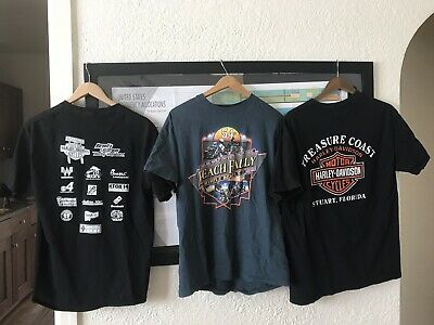 Lot of 4 Harley Davidson & Biker T-shirts-large & Hog Hat,cap.
