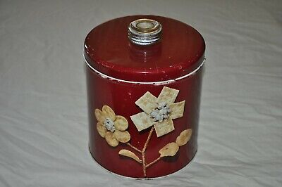 Vintage BLUE MAGIC Red KRISPY KAN TIN CANISTER CONTAINER CRACKER  Clean USA