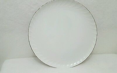 "Norleans China White ESTATE Pattern 12-1/2"" Round Platter Chop Plate From Japan"
