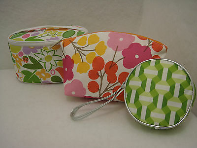 New Clinique Cosmetic Makeup Bags Set 3 Piece Greens White Pink Orange nwot