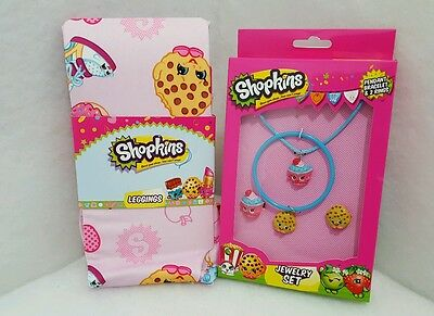 Shopkins Multi Set Girls Size 4 Bubble Gum Pink Leggings & 4 pc Jewelry Set NIP