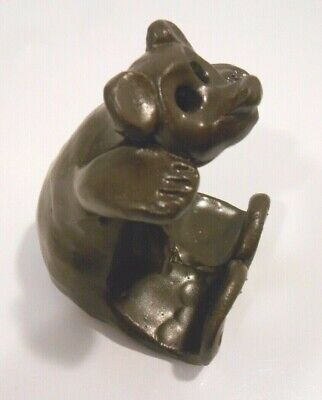 Pigeon River POTTERY BROWN BEAR BUSINESS CARD HOLDER Signed BULLEN TN