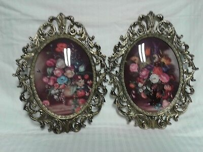 Vintage Ornate Brass Gold/Tint of black Oval Frames / Floral Prints, from Italy