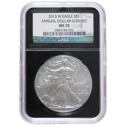 2013-W $1 Burnished American Silver Eagle Annual Dollar Set NGC MS70 Retro Core