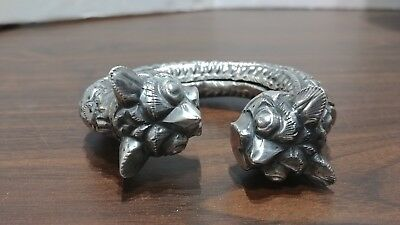 Antique Coin Silver Chinese Dragon Asian Bracelet #2