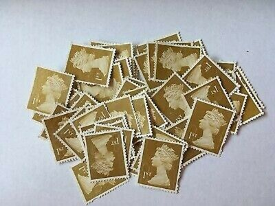 100 1st CLASS GOLD UNFRANKED STAMPS OFF PAPER NO GUM GOOD QUALITY £70