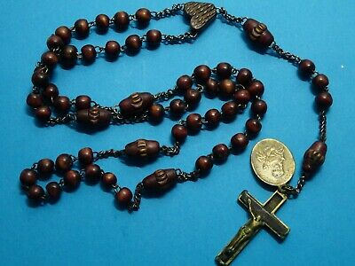 antique MONASTERY rosary // WOODEN beads // saint PHILOMENE medal