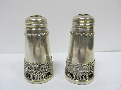 "Israel 925 Sterling Silver Pair Small Salt Pepper Shakers 2 ¼"" H Xlnt Cond"