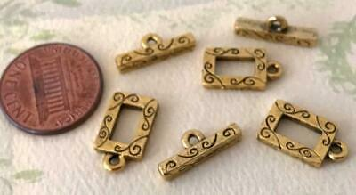Vintage 9 x 15mm Incised Gold Tone Metal Rectangular Toggle Clasps 3 Sets