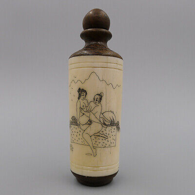 Hand Painting Beauty Nude Chart China Natural Bone Rosewood Snuff Bottle Pendant