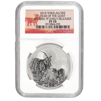 2015 $5 Reverse Proof Tokelau Silver Year of the Goat 1oz NGC PF70 ER