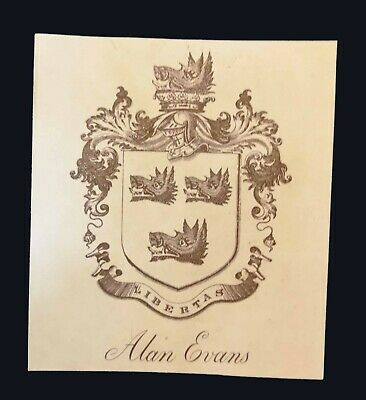 [early 20th century] Armorial bookplate of Alan Evans