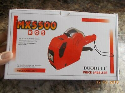 New in Box Duodeli MX5500 EOS Price Labeler with 1 Roll Labels + 1 Ink Roll