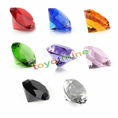 9 Colors Glass Crystal Diamond Shape Paperweights Facet Jewel Wedding Gift 40mm