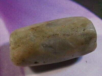 ANCIENT PRE-COLUMBIAN MESOAMERICAN GREEN JADE TUBE BEAD 24 by 12 MM
