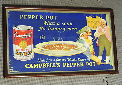 Antique vtg c1910s CAMPBELL'S Pepper Pot SOUP Arts & Crafts TROLLEY SIGN Card