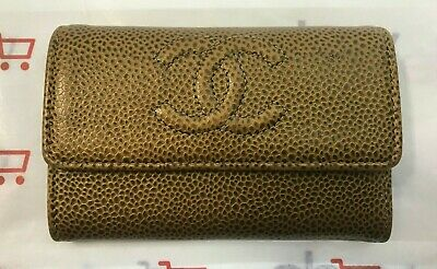 b2402ccf4d87 CHANEL CARD HOLDER Wallet - Gold Textured Leather - Made In Italy ...