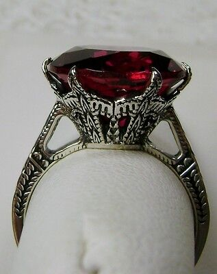 6ct *Ruby* Sterling Silver Edwardian 1910 Etched Filigree Ring {Made To Order}
