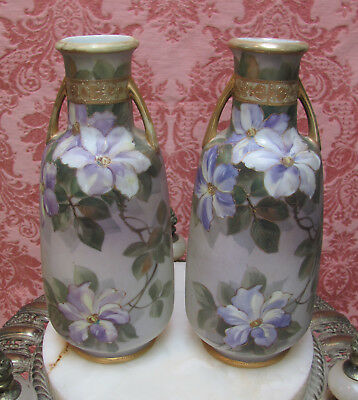 Matched Pair* 1920's NIPPON MORIMURA Hand-Painted VASES w/CLEMATIS FLOWERS-GOLD