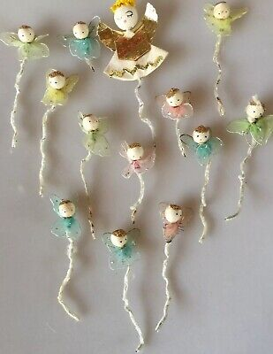 Vintage Christmas Angel Decorations Pipe Cleaner Chenille Twist Tie Lot Of 13
