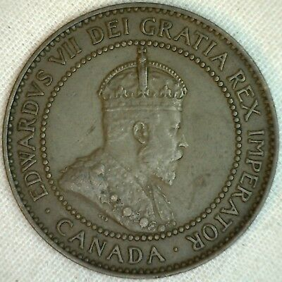 1908 Copper Canadian Large Cent Coin 1-Cent Canada XF K9