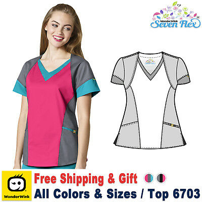 WonderWink Scrubs SEVEN FLEX Women's Triple Color V-Neck Tri Top_6703