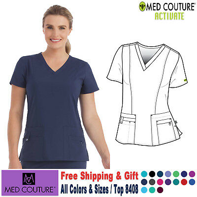 MED COUTURE Scrubs ACTIVATE Women's Uniform VNeck In-Motion Classic Top 8408