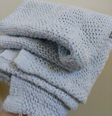 Pastel Blue 100% Cotton USA Thermal Waffle Weave Baby Blanket Lovey Vtg Nursery