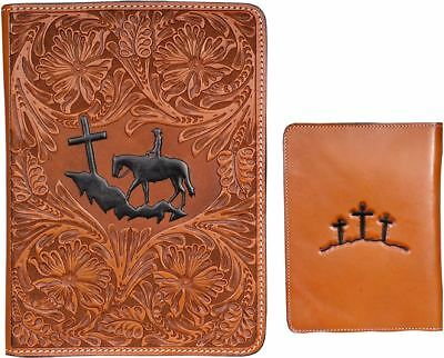 Western Leather Bible Cover-Unisex-Floral Tooled-Christian Cowboy Kneeling Cross