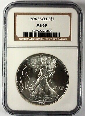 1994 Silver American Eagle MS69 NGC 1 oz CERTIFIED KEY DATE