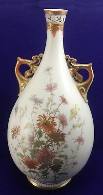 Incredible 1889 Royal Worcester Porcelain Ewer Jug Vase 14-1/2""