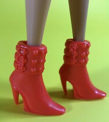 """11.5"""" Barbie Doll Clothing Accessory Shoes Pair Red High Heel Boots Booties Only"""
