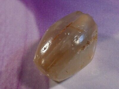 Ancient Neolithic Chalcedony Agate Bicone Bead 17.3 By 12.7 Mm
