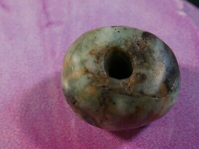 Ancient Pre-Columbian-Mesoamer. Mayan Jade Belize  Bead 16.6 By 12.2 Mm